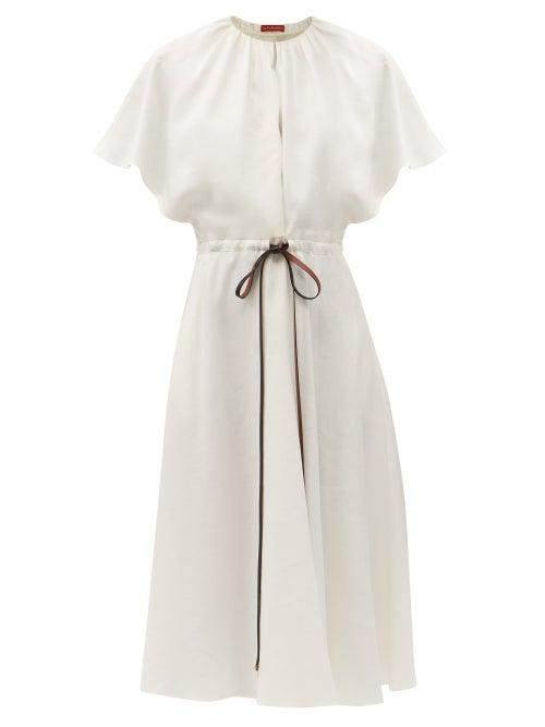 Altuzarra - Romy Belted Linen-blend Midi Dress - Womens - White