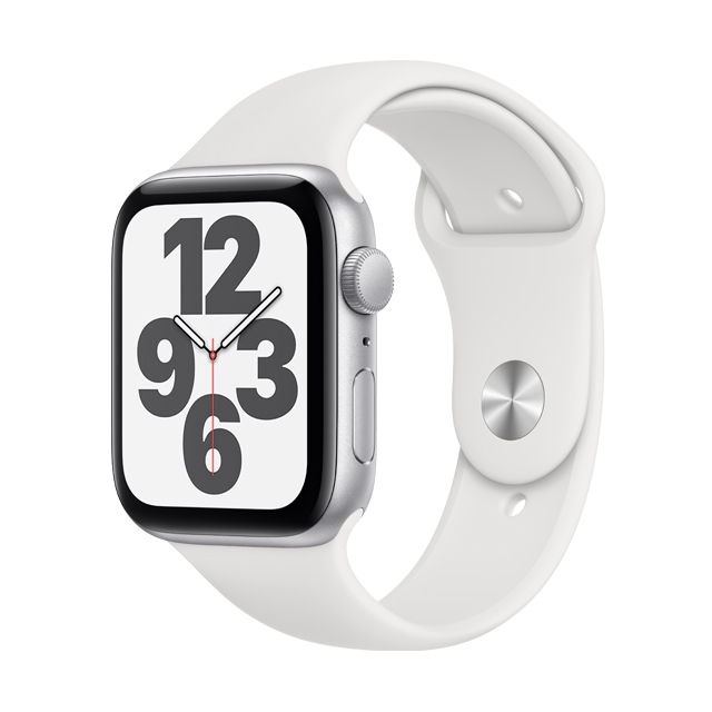 Apple Watch SE GPS,44mm Silver Aluminium Case with White Sport Band(MYDQ2TA/A)