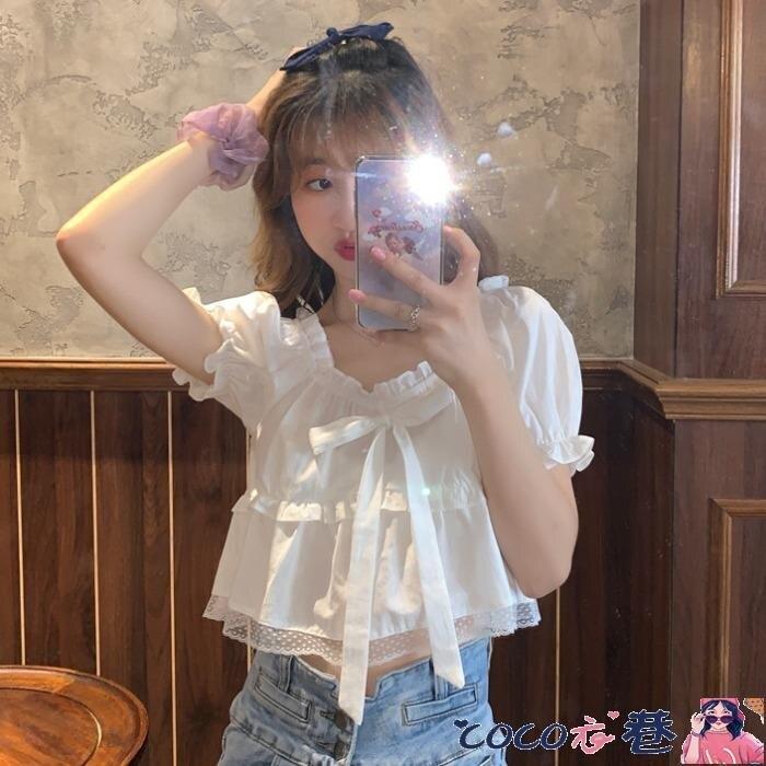 泡泡袖上衣 短款泡泡袖白襯衫女設計感小眾2021夏季新款上衣韓版寬鬆百搭襯衣
