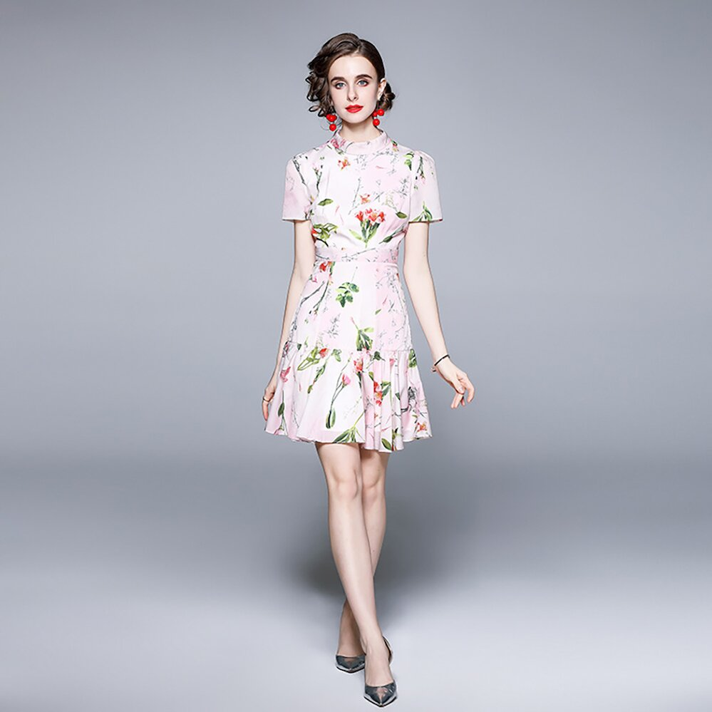 Olivia奧莉 粉嫩花朵修身顯瘦長洋裝連身裙中大尺碼
