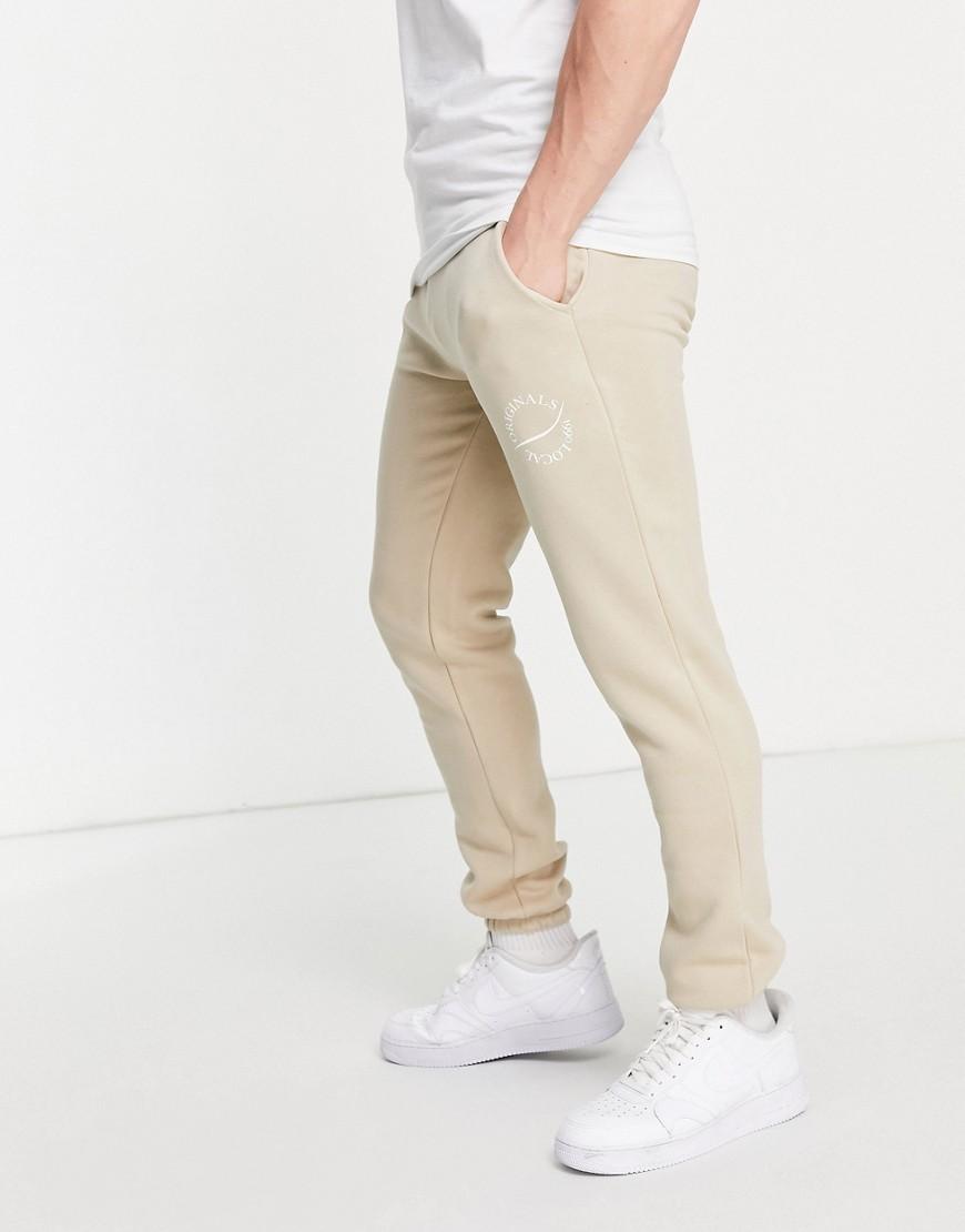 Jack & Jones Originals co-ord jogger with round logo in beige-Neutral