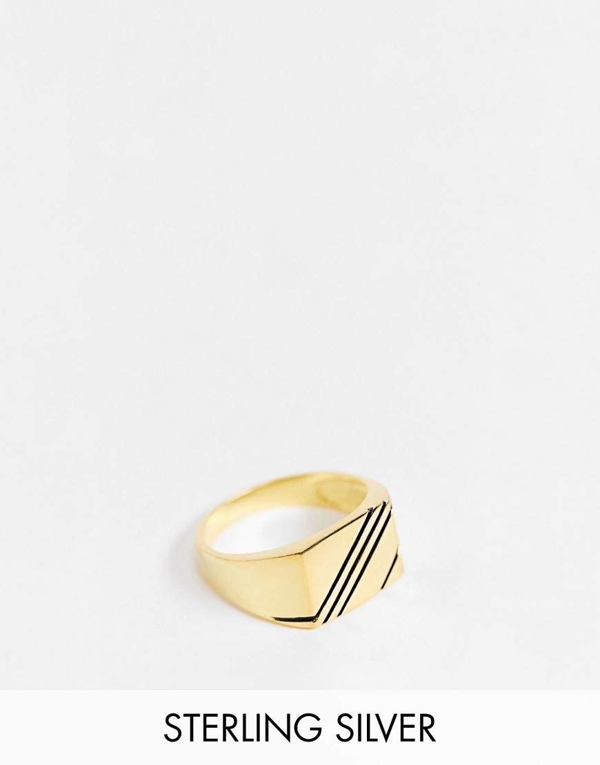 ASOS DESIGN sterling silver signet ring with contrast in 14k gold plate