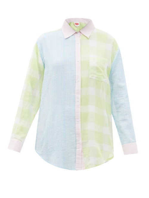 Solid & Striped - The Oxford Patchwork Checked Cotton-muslin Shirt - Womens - Green Multi