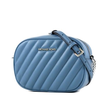 MICHAEL KORS ROSE 衍縫斜紋拉鍊相機包-藍色/小