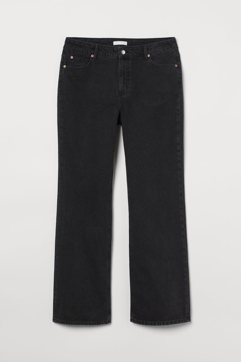 H & M - H & M+ 小喇叭高腰牛仔褲 - 黑色