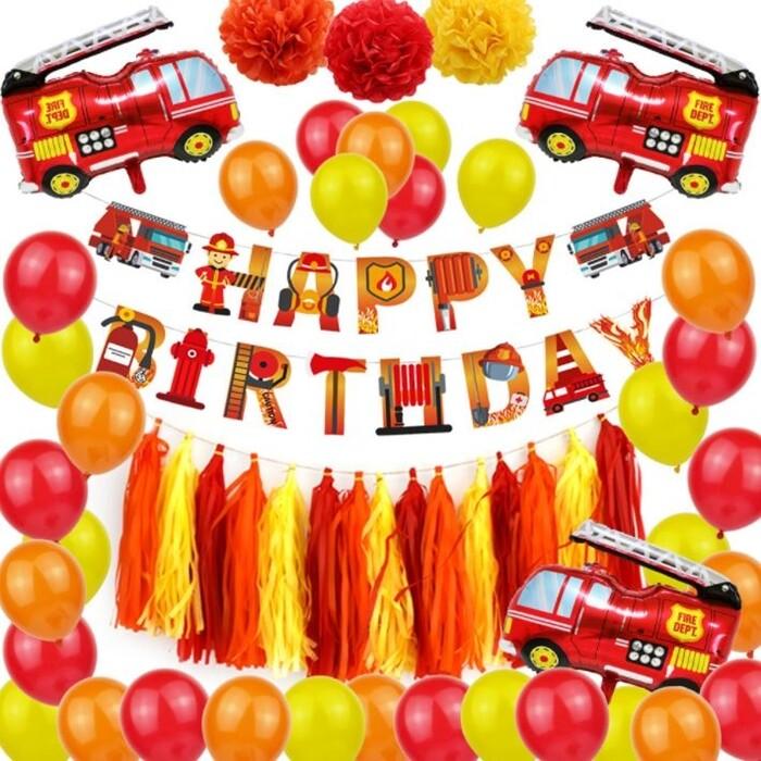 消防車-豪華款生日氣球套組