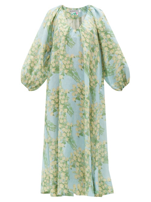 Bernadette - Georgette Bouquet-print Linen Midi Dress - Womens - Blue Multi