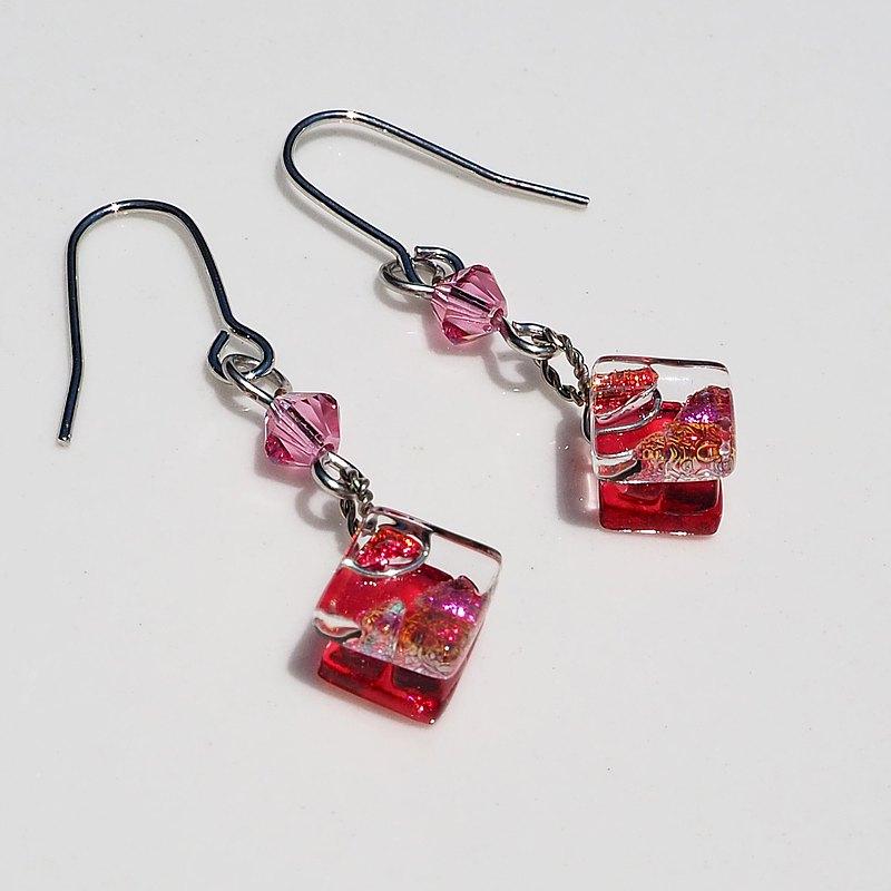 10月誕生石玻璃(電氣石)耳環/耳環[長度可選] [金屬配件可選] [定做]
