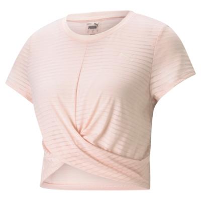 Puma 瑜珈系列Studio扭結  短版  女短袖T恤-粉-52022827