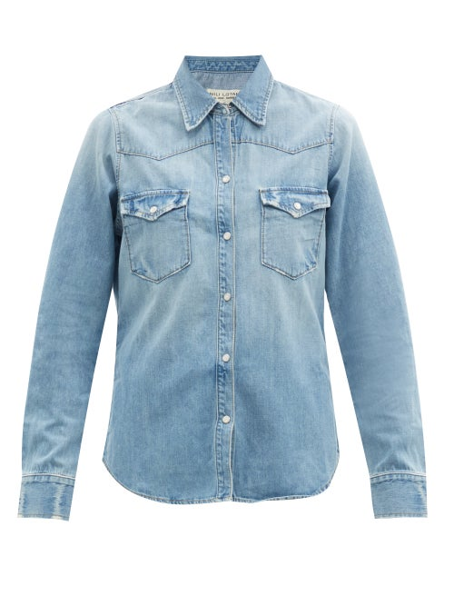 Nili Lotan - Travis Patch-pocket Denim Shirt - Womens - Light Blue