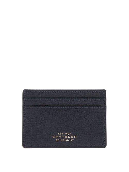 Smythson - Ludlow Grained-leather Cardholder - Mens - Navy