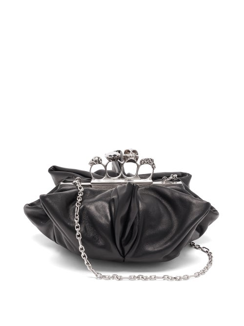Alexander Mcqueen - Skull Four-ring Flower Leather Clutch - Womens - Black