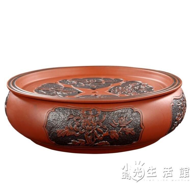 功夫茶盤茶海茶臺紫砂大茶盤陶瓷茶具簡約家用圓形茶托盤儲水小號