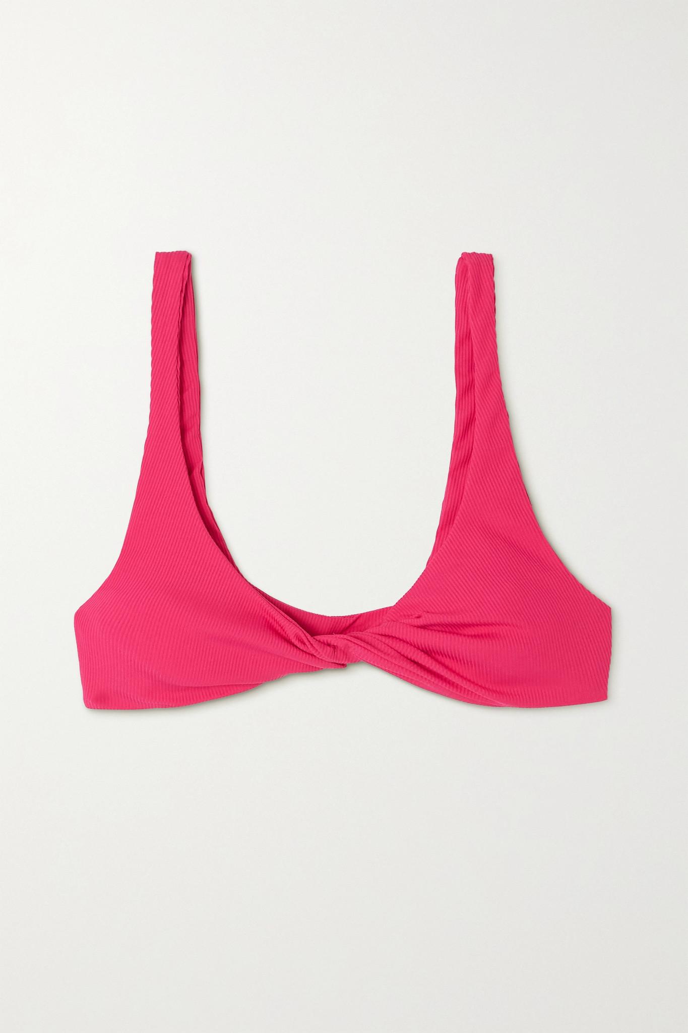 THE ATTICO - 拧绕式罗纹三角比基尼上装 - 粉红色 - medium
