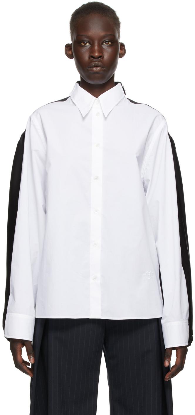 MM6 Maison Margiela 白色 & 黑色拼接衬衫