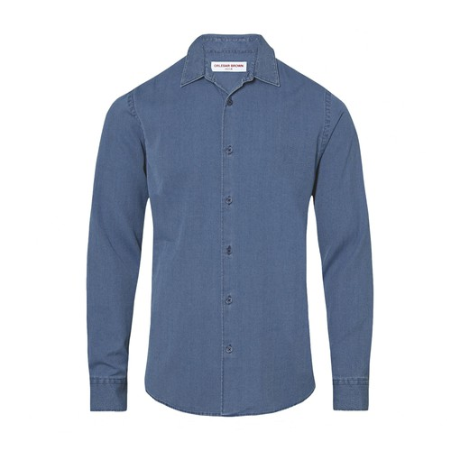 Giles Denim Waffle Classic Collar Denim Tailored Fit Shirt