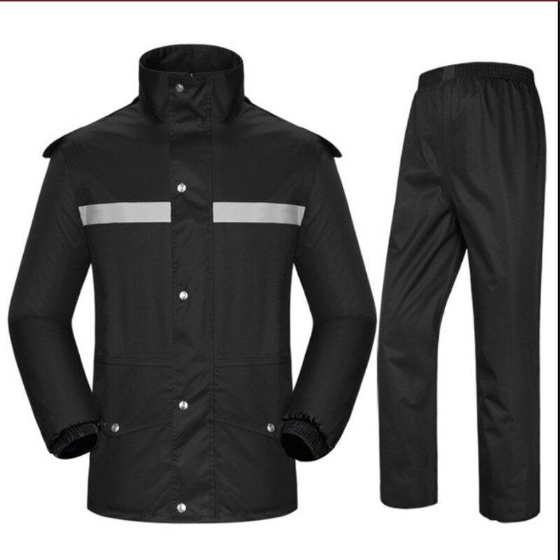 牛津布戶外騎行雨衣雨褲分體套裝加厚雙層成人勞保反光雨衣定制