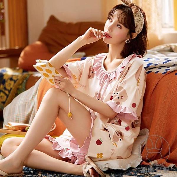 睡衣女夏季純棉卡通短袖休閒薄款春秋家居服兩件套裝【貼身日記】