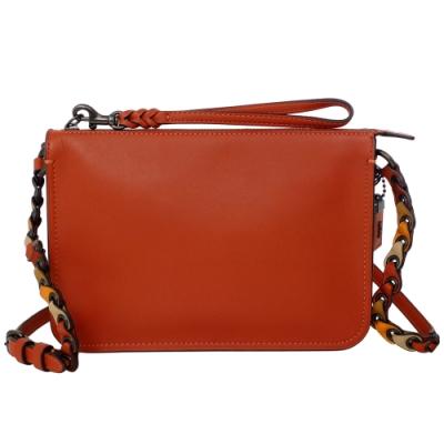 COACH橘紅復古全皮環編背帶手掛/斜背小包