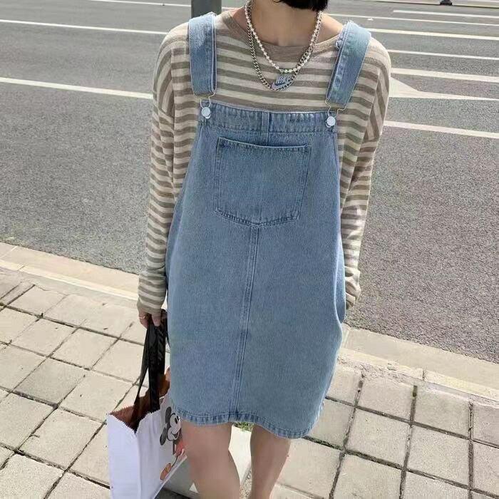 夏季新款韓版設計感牛仔揹帶裙吊帶連衣裙女直筒中裙