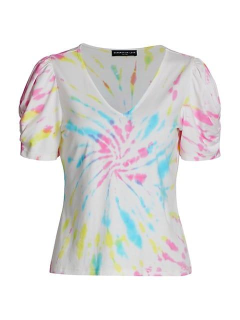 Odessa Tie-Dye Puff-Sleeve T-Shirt