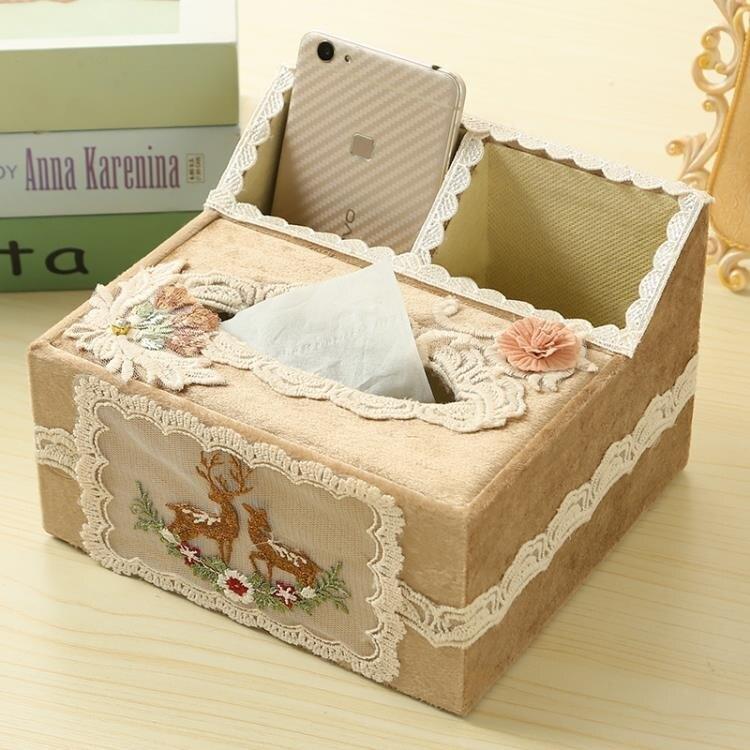 歐式遙控器收納盒客廳紙巾盒桌面多功能抽紙盒布藝茶幾創意紙抽盒 愛尚生活