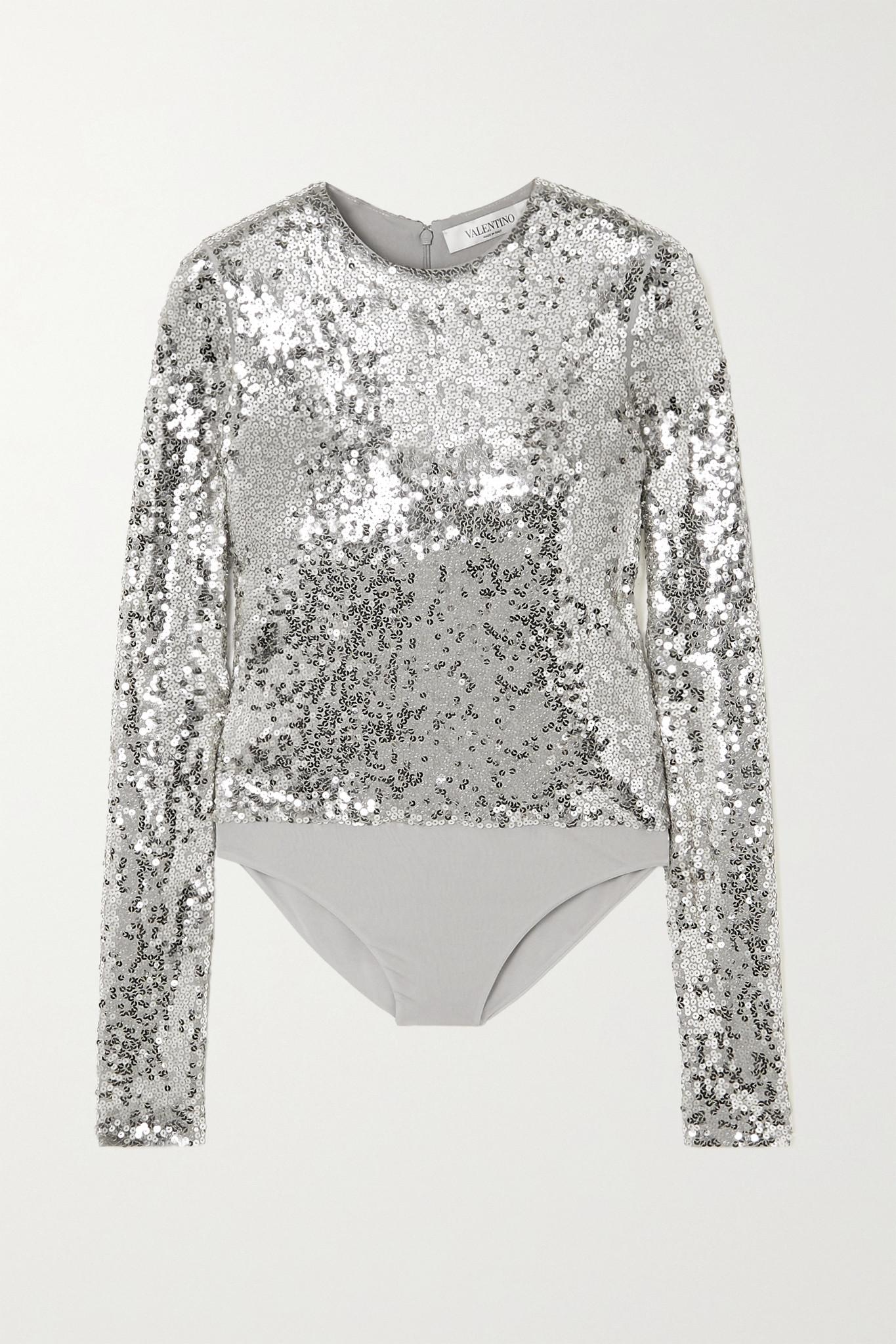 VALENTINO - 亮片平纹布连体紧身衣 - 银色 - x small