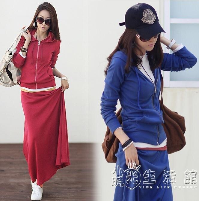 新款休閒大碼女裝韓版修身女寬鬆長裙連帽衛衣套裝裙兩件套2017潮