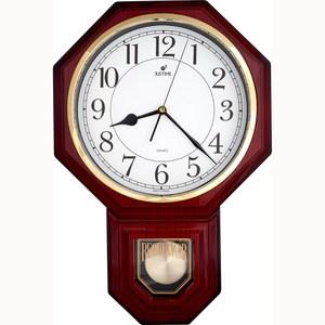 【JUSTIME 鐘情坊】復古典雅八角整點報時擺錘掛鐘/台製白底紅木紋