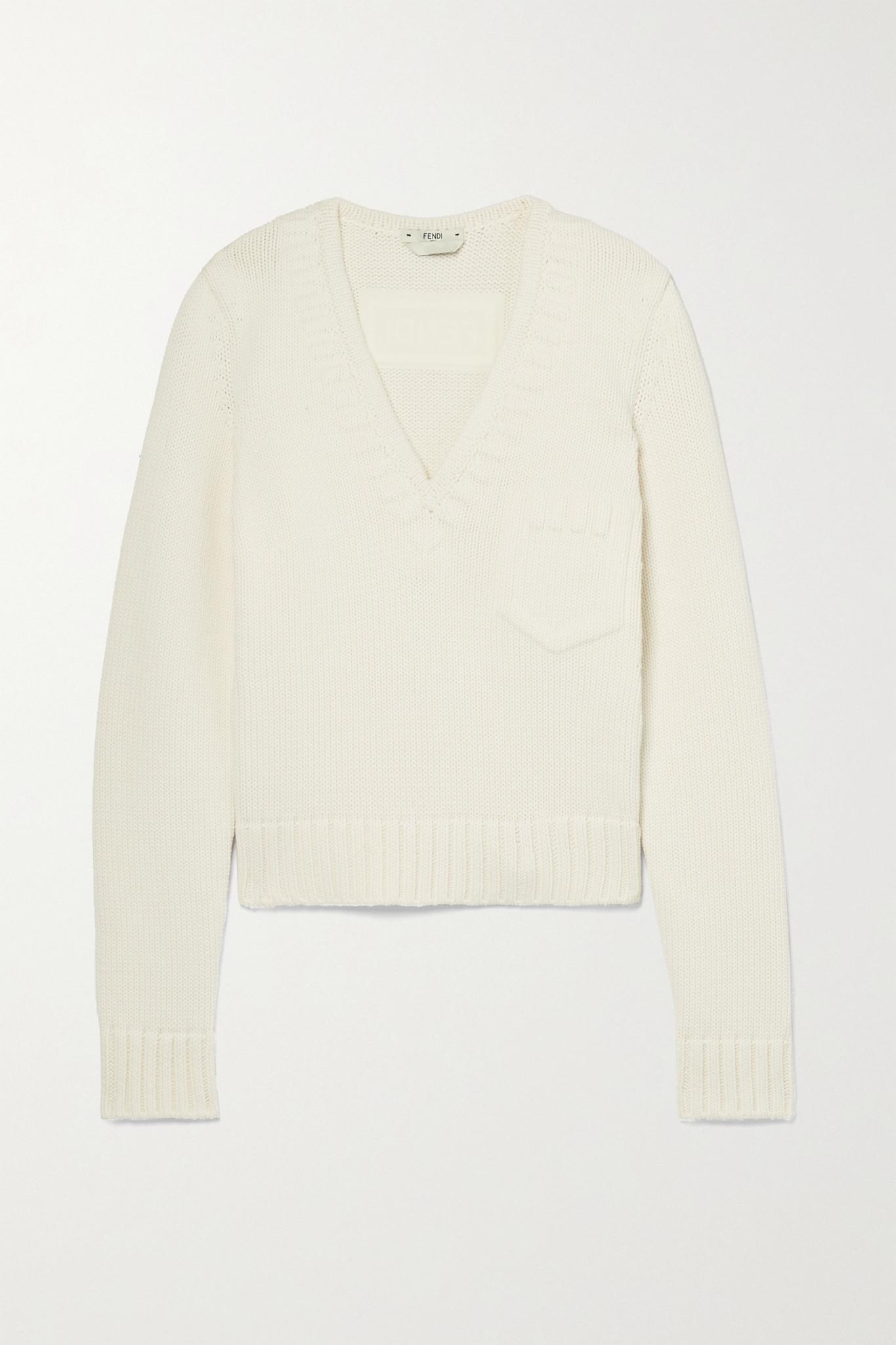 FENDI - 棉质混纺短款毛衣 - 米白色 - IT44