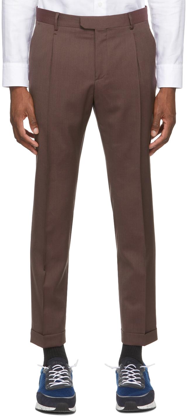 Z Zegna 棕色羊毛长裤