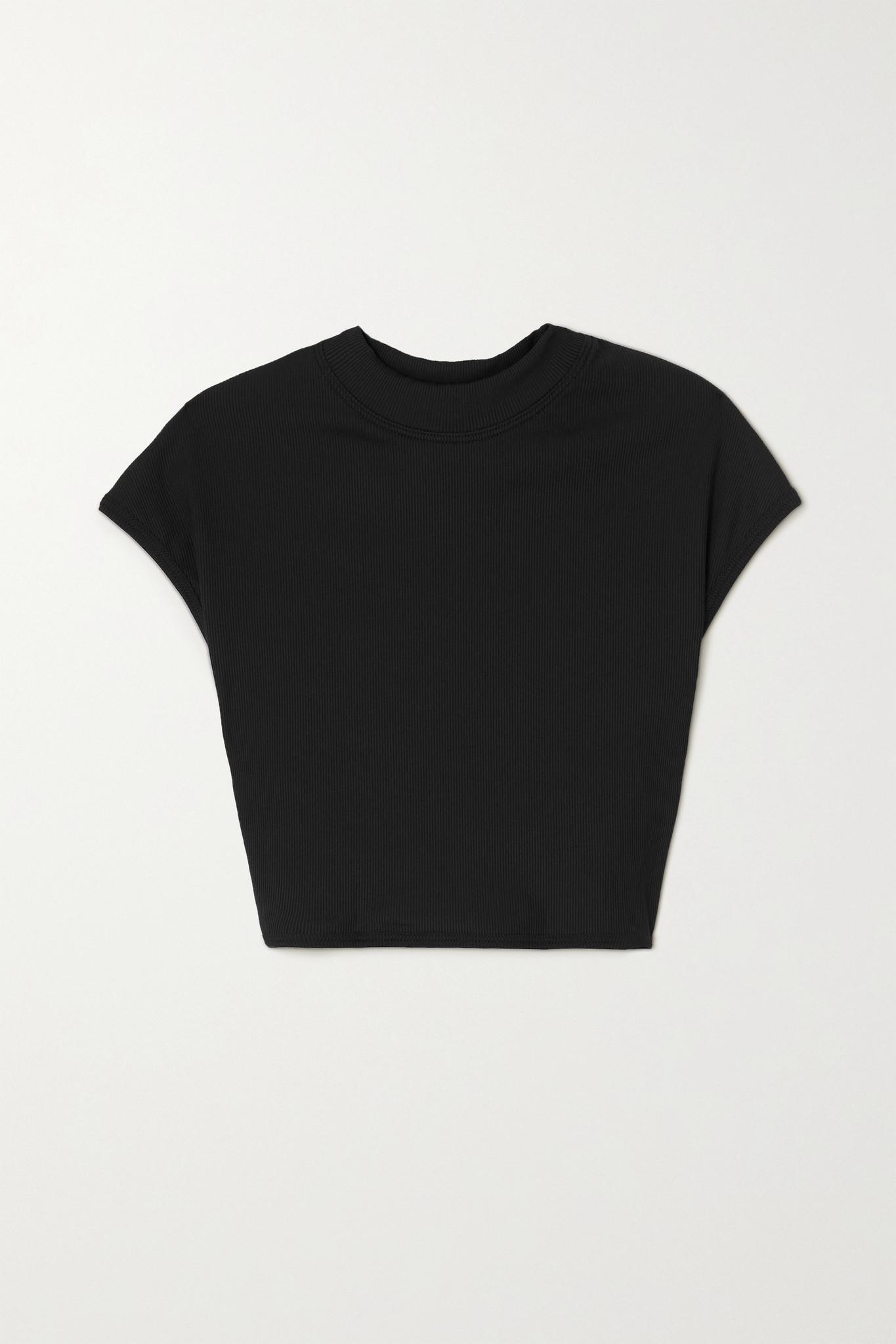 THE ATTICO - 罗纹比基尼上装 - 黑色 - small
