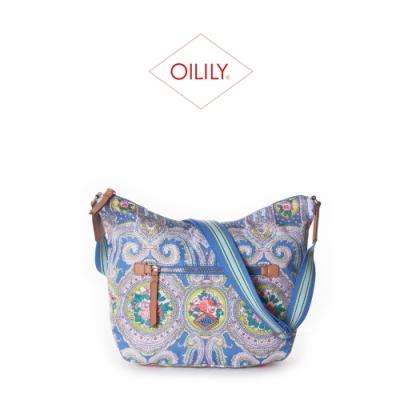 【Oilily】拉鍊式側背/斜背包_粉藍_City Rose Paisley