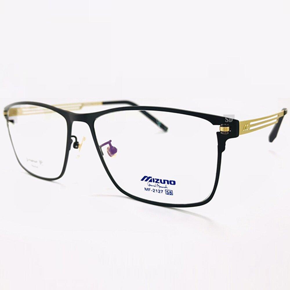 【MIZUNO】美津濃 鈦金屬 光學眼鏡鏡框 MF-2127 C71 橢圓框鏡框眼鏡 58mm 黑/金
