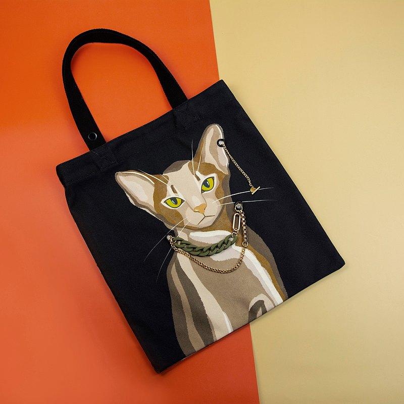 春遊環保袋 雙面插畫帆布包-一隻阿比西尼亞貓(包鍊項鍊兩用)