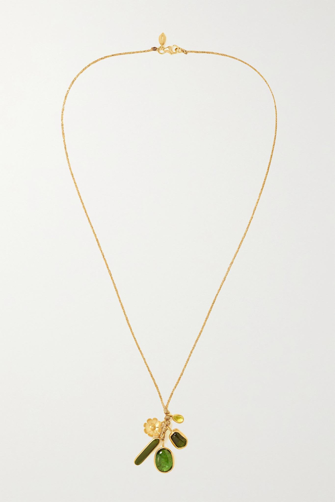 PIPPA SMALL - 18k 黄金、碧玺、编绳项链 - 金色 - one size
