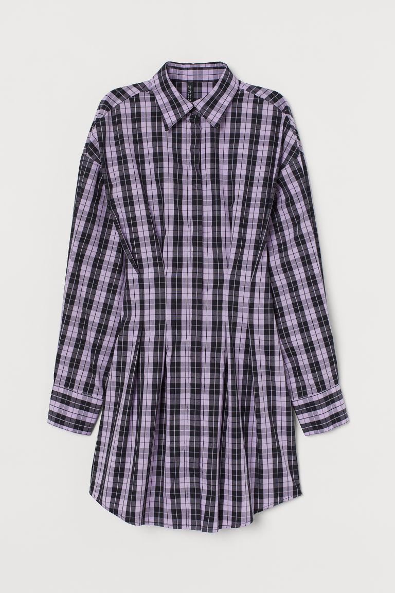 H & M - 棉質襯衫式洋裝 - 紫色