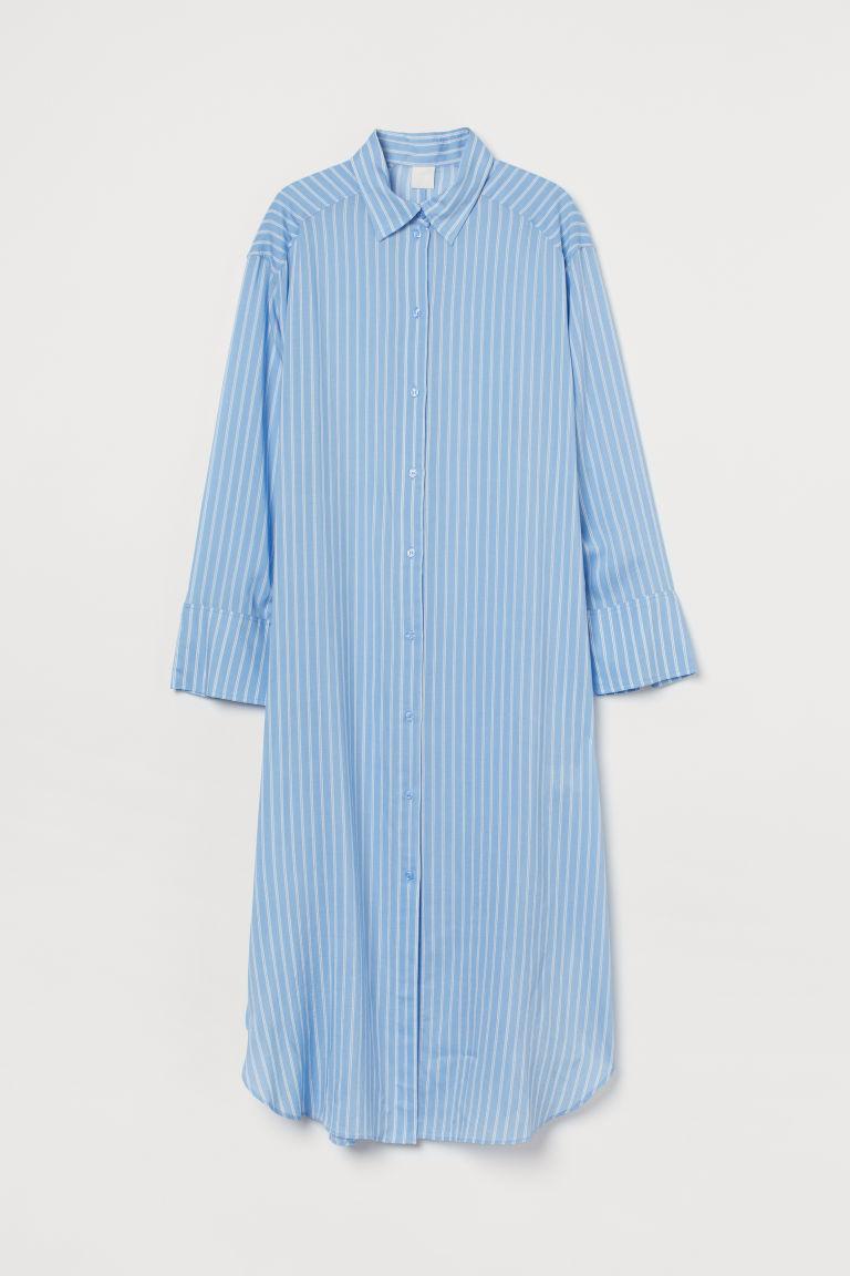 H & M - 加大碼襯衫式洋裝 - 藍色