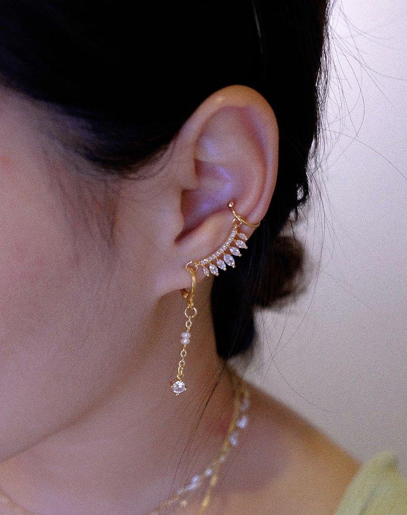 SYUAN JEWELRY | 玩美— 設計款鍍18K鋯石珍珠耳環耳骨夾