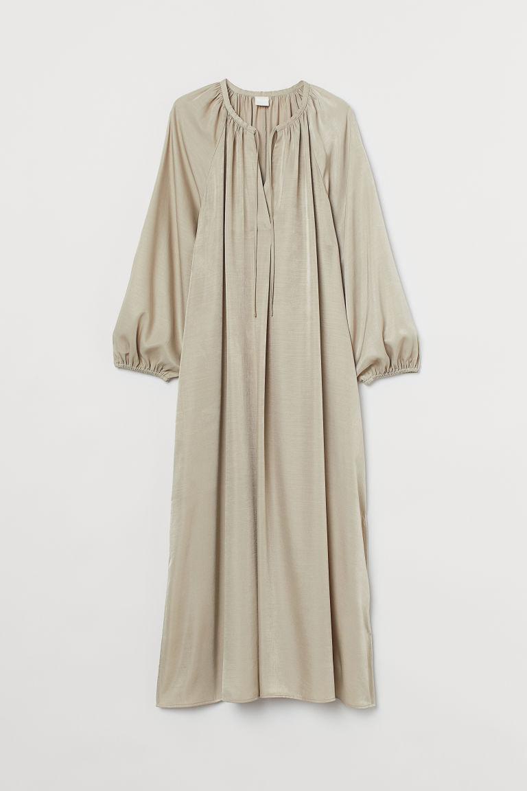 H & M - 中長版洋裝 - 米黃色