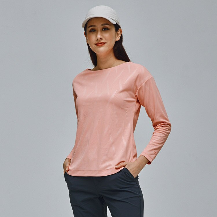 ADISI 女UPF50+防曬長袖一字領排汗衣AL2111100 (S-2XL) / 抗紫外線 CoolFree 彈性 吸濕速乾 防曬上衣