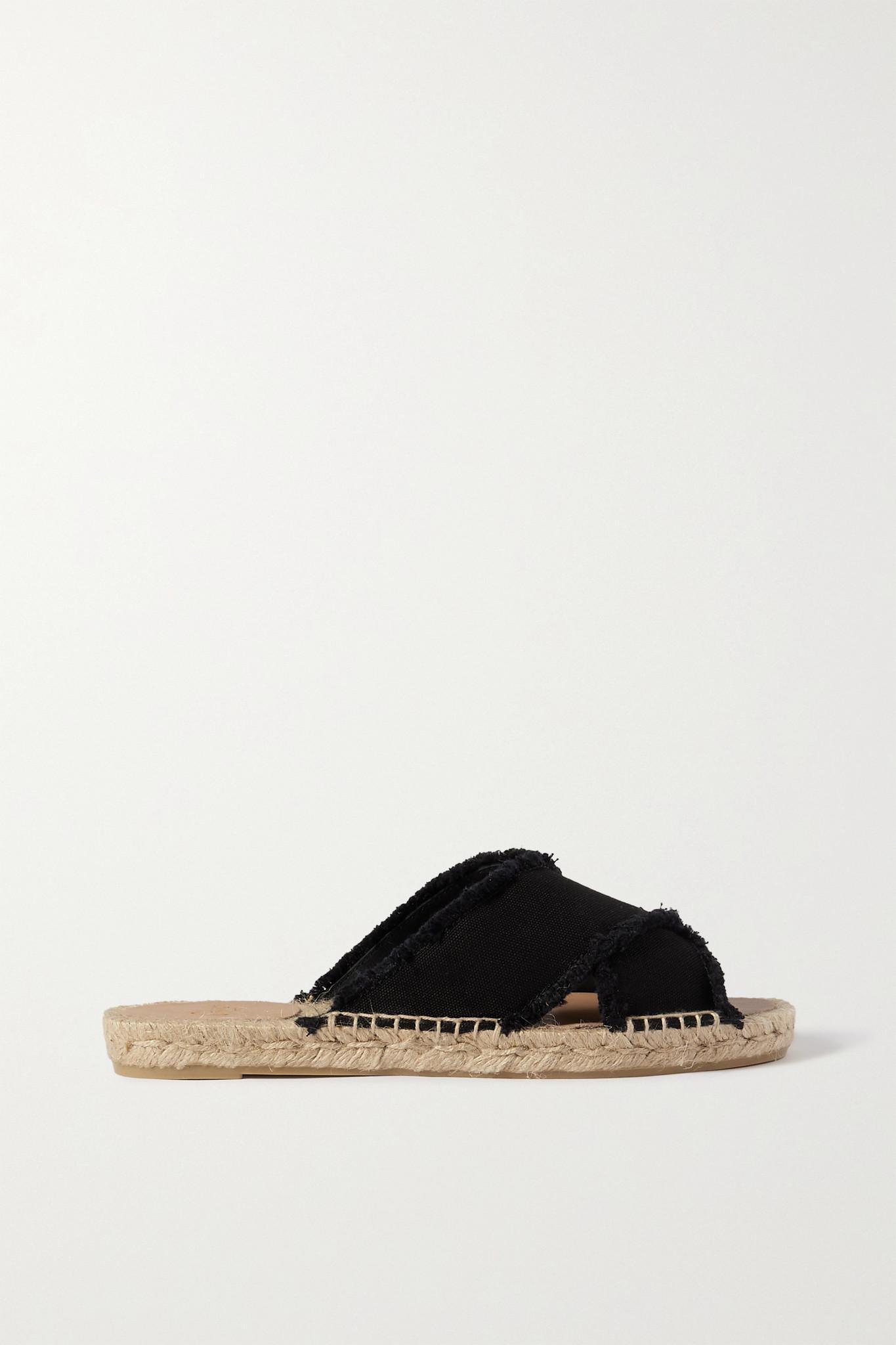 CASTAÑER - Palmera 毛边帆布麻底拖鞋 - 黑色 - IT38