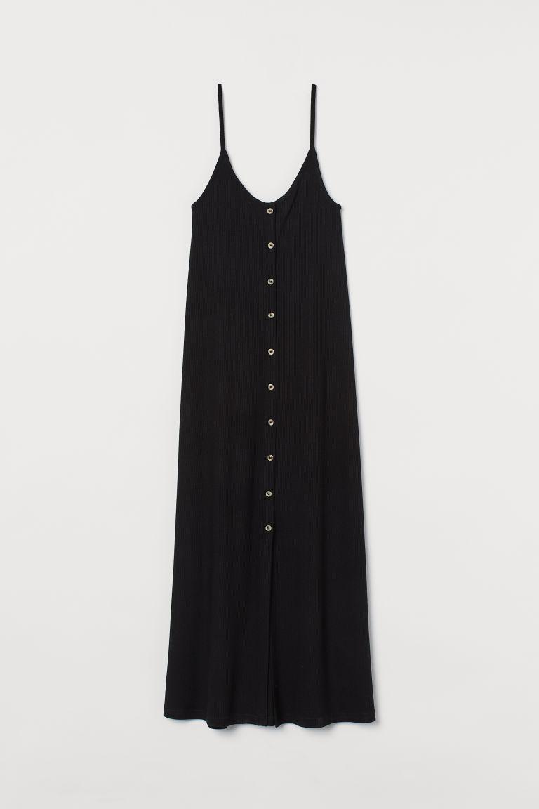 H & M - 鈕扣開襟羅紋洋裝 - 黑色