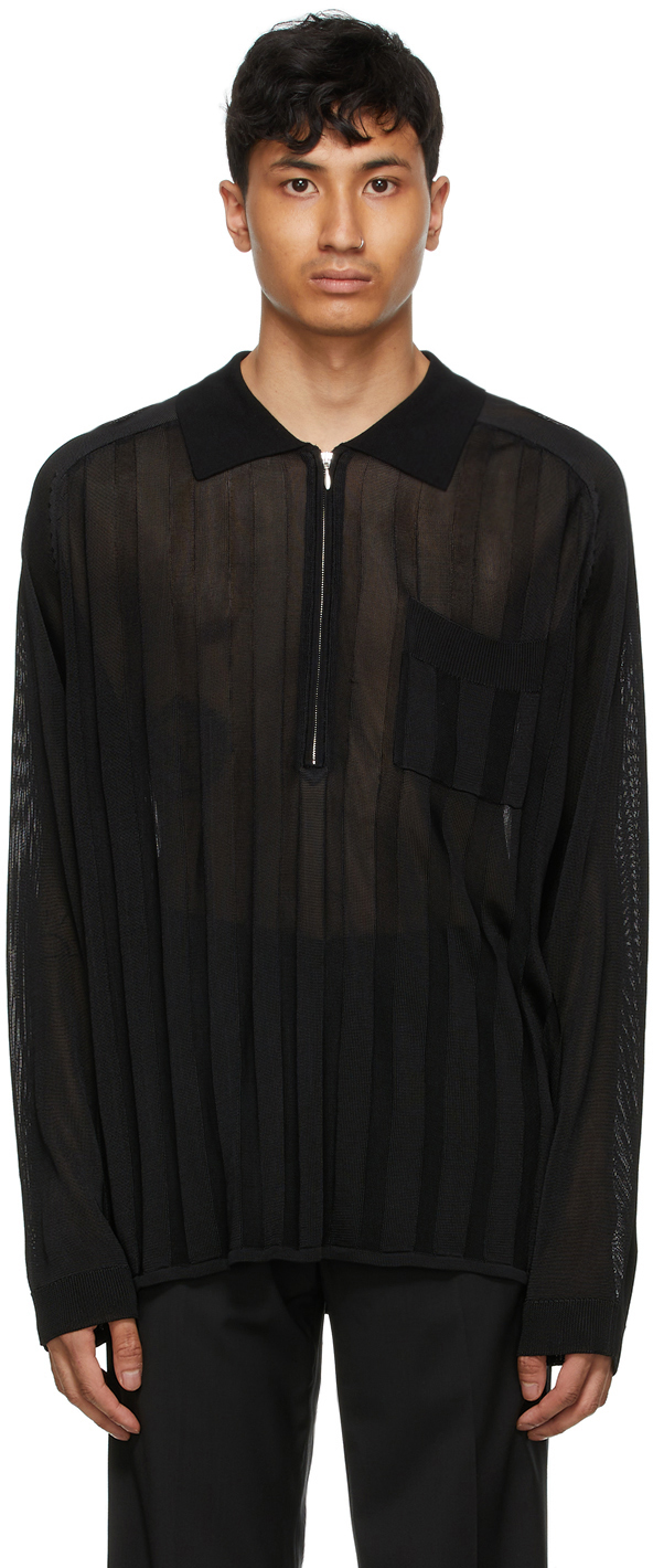 HOPE 黑色 Soul 人造丝长袖 Polo 衫
