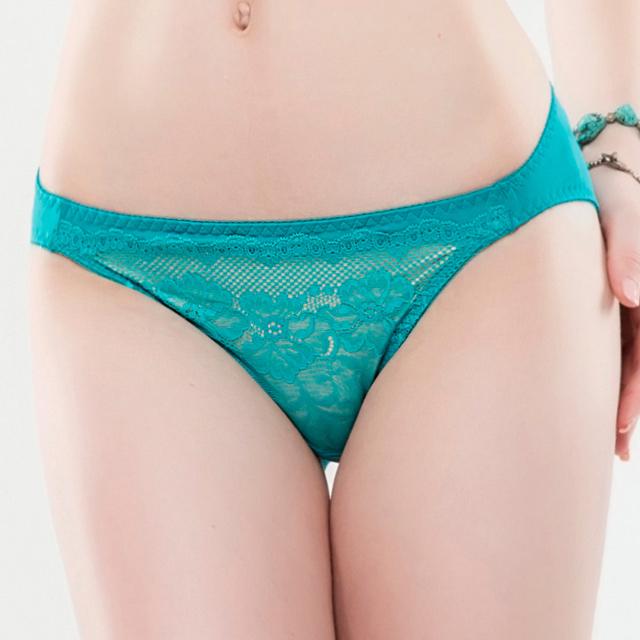 【思薇爾】緹花漫舞系列M-XL蕾絲低腰三角內褲(微風藍)
