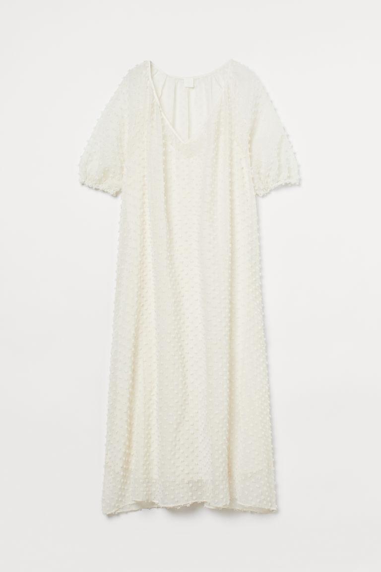 H & M - V領長洋裝 - 白色