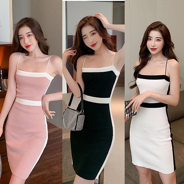 VK旗艦店 韓國風氣質性感拼色一字領吊帶收腰包臀無袖洋裝