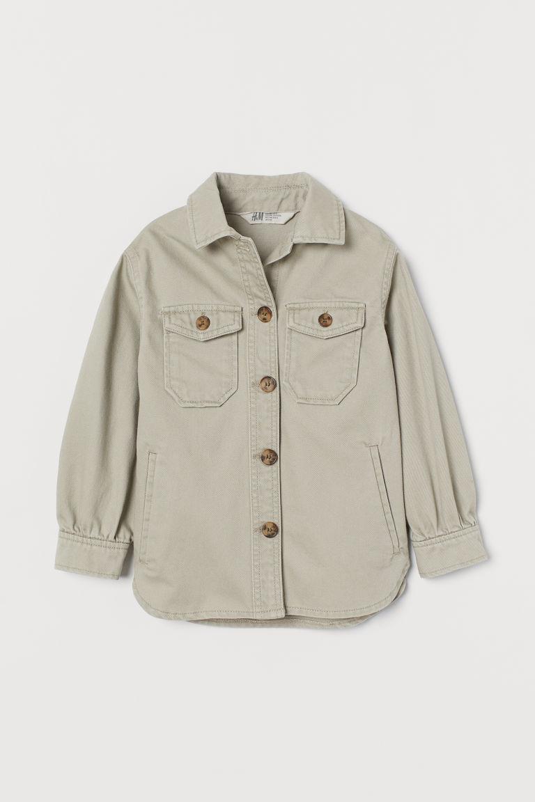 H & M - 斜紋襯衫式外套 - 綠色