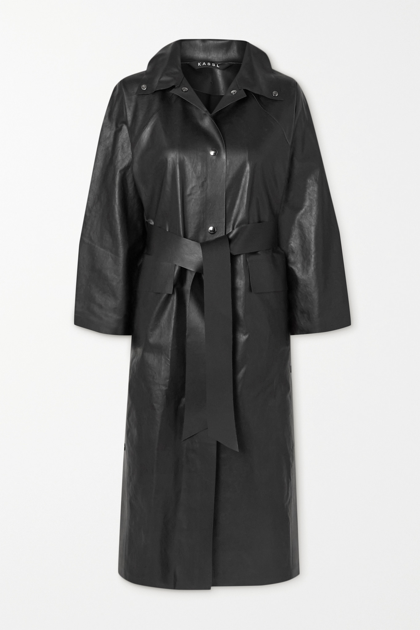 KASSL EDITIONS - Belted Coated Cotton-blend Trench Coat - Black - small