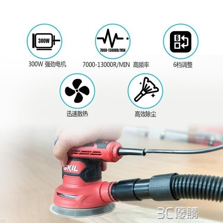 電磨機 電動砂紙機圓盤式平板砂光機家具膩子牆面打磨機小型無塵木工YYP